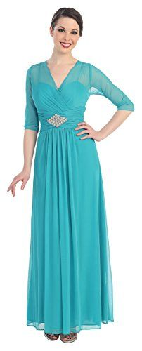 Womens 3/4 Sleeve Formal Evening Mother of the Bride Chiffon Dress Rhinestones (X-Large, Sea Green) Love My Seamless http://www.amazon.com/dp/B00QL42VEC/ref=cm_sw_r_pi_dp_0rs7vb00V6DHD