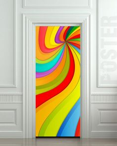"Door STICKER nursery rainbow outer cosmos abstraction space mural decole film self-adhesive poster 30x79""(77x200 cm) /"