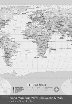 World Map Wall Mural wallpaper from Muffin & Mani in Grey Scale World Map Wall, Wall Murals, Home Furnishings, Muffin, Grey Scale, Polka Dots, Wallpaper, Maps, Pattern