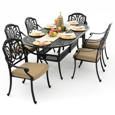 rosedown 7 piece cast aluminum patio dining set with 86 x 42inch oval