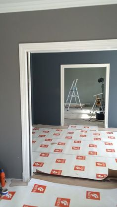 Interior Paint, Modern Interior Design, St Pauls Blue, Painted Wooden Floors, White Family Rooms, Plaster Ceiling Design, Montana Furniture, Colour Architecture, Plain Wallpaper