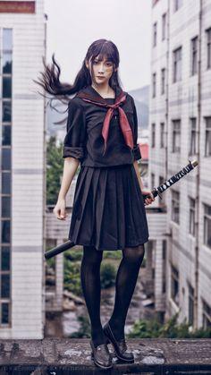 Pin on 制服 Pin on 制服 Female Pose Reference, Pose Reference Photo, Drawing Reference Poses, Japonese Girl, Sword Poses, Katana Girl, Female Samurai, Poses References, Body Poses
