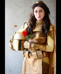 Costumer Elizabeth Rage as Belleba Fett, one of a series of costumes based upon the character Belle Cosplay Outfits, Cosplay Girls, Cosplay Costumes, Family Cosplay, Belle Cosplay, Disney Cosplay, Hallowen Costume, Halloween Cosplay, Star Wars Costumes