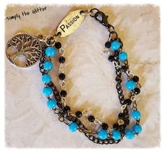 Tree of Life Turquoise and Black Rosary Beads by SimplyTheGlitter