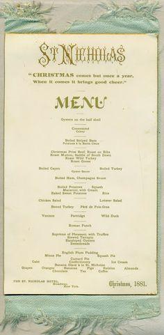 St. Nicholas Hotel, New York City, NY, Christmas menu, December 25, 1881, 5-1/4 x 9in., verso