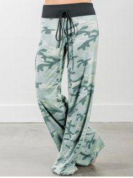 Camo Print High Waisted Palazzo Pants - CAMOUFLAGE