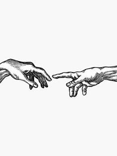 'Creation Of Adam' Sticker by lianamarar <br> Ink, digitally produced Dog Tattoos, Mini Tattoos, Small Tattoos, Sleeve Tattoos, Art Drawings Sketches, Tattoo Drawings, Flash Art Tattoos, Arte Sketchbook, Future Tattoos