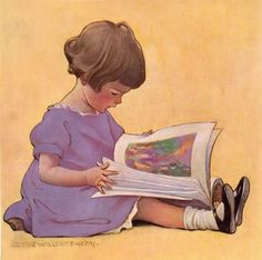 Illustration by Jessie Willcox Smith- 'Little reader' Reading Art, Girl Reading, Children Reading, Reading Books, Jessie Willcox Smith, Children's Book Illustration, Book Illustrations, Vintage Wall Art, Vintage Children