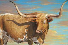 """""""Pancho"""" - Texas Longhorn steer bull painting by Lee Casbeer Oil -24 x -36"""