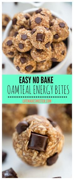 No Bake EASY 5 Ingredient Peanut Butter Chocolate Chip Oatmeal Energy Bites make a healthy GLUTEN FREE breakfast or snack for on-to-go. Perfect for curbing those sweet tooth cravings while staying on track. REFINED SUGAR FREE & the best way to refuel after a workout!