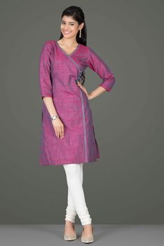 Alluring Onion Pink & Turquoise Blue Angrakha-Style Khadi Silk Straight-Fit Kurta With Hand Embroidery