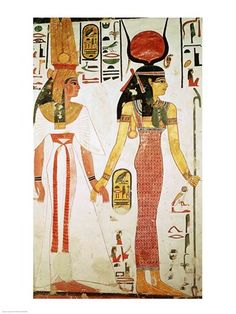 Isis (with Hathor crown) and Nefertari, from the Tomb of Nefertari