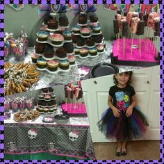 All home made and easy to do!!! Monster High stadium cups with party favors. Chocolate dipped pretzels. Chocolate dipped marshmallows. Cupcake stand. No sew tutu made with headband wrap for the waist and 8 yards of tule. Fabulous for my first time :-)