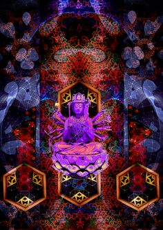 Bodhisattva of Compassion Digital art based on original paining copy Art Base, Psychedelic Art, Compassion, Digital Art, Photoshop, Artist, Painting, Painting Art, Paintings