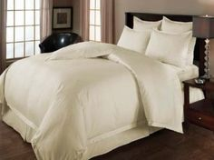 Amazon.com: Wrinkle-Free 8-PC Queen size Solid Ivory Microfiber Bed in A bag set Includes sheet set+ duvet set+ down Alternative comforter: Home & Kitchen