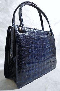 VINTAGE 50s-70s DARK BLUE GENUINE CROCODILE HIGH QUALITY BOXY HANDBAG/BAG~DECO | eBay