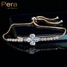 Fashion Ladies Rose Gold Plated Big 4 Leaf Shape Adjustable Chain Friendship Girl Bracelet Jewelry With AAA + Cubic Zircon B093
