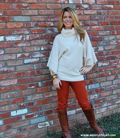 www.winetastegirl.com  Burnt orange jeans, oversized knit sweater.