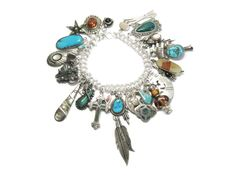 Turquoise Southwestern Charm Bracelet Sterling - pinned by pin4etsy.com