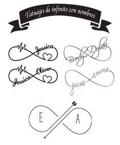 Infinity tattoos: symbols and their meanings (+ 80 ideas, - Infinity tattoos: symbols and their meanings (+ 80 ideas, - Infinity Name Tattoo, Infinity Tattoo Designs, Couples Tattoo Designs, Heart Tattoo Designs, Kinderinitialen Tattoos, Tribal Tattoos, Name Tattoos, Body Art Tattoos, Tattoos Skull