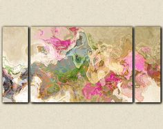 "Abstract art, large 30x60 to 40x78 triptych gallery wrap giclee canvas print, in pastel colors from abstract painting ""Dream a Little Dream"" by FinnellFineArt on Etsy https://www.etsy.com/listing/123370434/abstract-art-large-30x60-to-40x78"