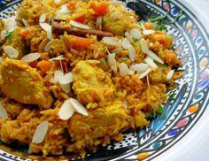 Kashmiri Chicken, Cardamom and Saffron Pilau: Spiced Indian Rice.