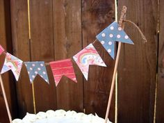 Cake Banner, Pink and Green Dots. $7.50, via Etsy.