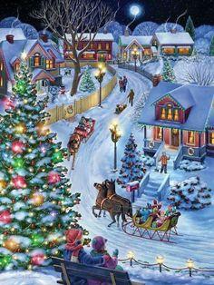 christmas images Jingle All the Way Jigsaw Puzzle, Christmas - Nostalgic: Vermont Christmas Company Christmas Scenes, Christmas Villages, Christmas Past, Winter Christmas, Xmas Holidays, Christmas Jigsaw Puzzles, Christmas Puzzle, Illustration Noel, Christmas Paintings