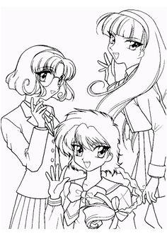 A colorier, les trois héroïnes toutes souriantes de Magic Knight Rayearth
