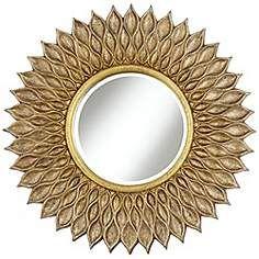 "Sunflower 36"" Wide Antique Gold Wall Mirror"