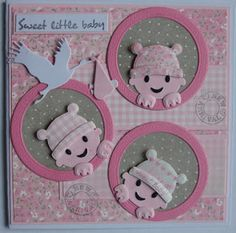 Suzanna: Sweet Little Baby! Baby Girl Cards, New Baby Cards, Baby Scrapbook, Scrapbook Cards, Marianne Design Cards, Baby Shower Cards, Baby Design, Kids Cards, Homemade Cards