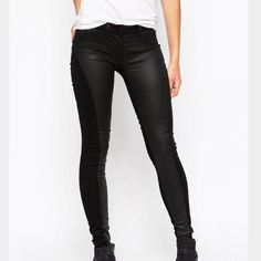 3x1 W2 Coated Skinny Jeans (NWOT) Firm-stretch black denim with coated front panels. Very skinny fit cut closely to the body - would recommend for a 24. Perfect condition. 3x1 Denim Jeans Skinny