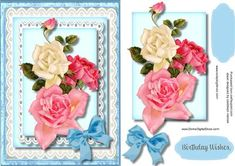 Beautiful Mixed roses on Stunning Lace  on Craftsuprint - Add To Basket!