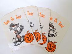Vintage 1950s Halloween Candy Bag Trick or Treat Set of 4 by teresatudor, $3.50