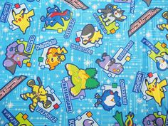 Pokemon fabric for kids blue color    100% Japanese cotton linen blend,Japan fabric , cotton fabric,fabric supplies
