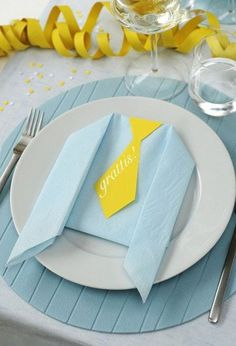 fold napkins, cut paper ties and lay on napkin or attach ties to napkin with a small dot of glue or doublesided tape at very top of tie Baby Shower Gender Reveal, Baby Boy Shower, Deco Table, A Table, Shower Party, Baby Shower Parties, Festa Party, Napkin Folding, Baby Sprinkle