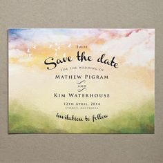 Printable Save the Date, Announcement, Engagement Invitation - Watercolour Sky