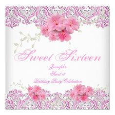 Pretty Pink White Sweet 16 Sweet Sixteen Party Invite Party Invitations by Zizzago.com