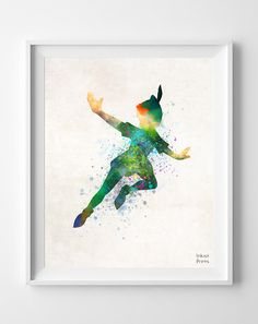 Peter Pan Disney Print Watercolor, Nursery Baby, Peter Pan Poster, Illustration Art Painting, Watercolour, Wall, Kid, Home Decor [NO 210] by InkistPrints on Etsy https://www.etsy.com/listing/187633467/peter-pan-disney-print-watercolor