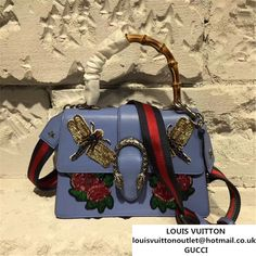 21d5de87a61 Gucci Dionysus Bamboo Top Handle Bag with Dragonfly and Roses Appliqus  Embroideries Spring Summer 2017 Collection Purple. Authentic Luxury