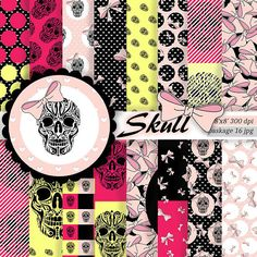 Sugar skull Digital paper pack Pink Sugar от ArtBoutiqueButterfly