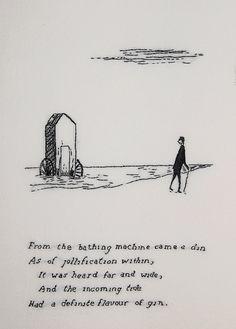 Edward Gorey: The Bathing Machine Edward Gorey, John Kenn, Gravure Illustration, Contemporary Embroidery, Ink Pen Drawings, Embroidery Art, Illustrations, American Artists, Dark Art