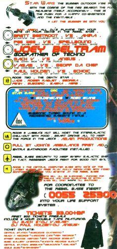 Star Wars : Saturday, 19 November 1994 Flyers, Sydney, Rave, November, Star Wars, Raves, November Born, Ruffles, Starwars