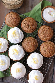 Zucchini Cupcakes with Greek Yogurt Frosting — A cupcake that uses zucchini and quinoa? Yes, it's high in protein and  yummy too.