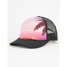Hurley Destination Womens Trucker Hat ($25) ❤ liked on Polyvore featuring accessories, hats, black, truck caps, black hat, black snapback, adjustable snapback hats and graphic snapback hats