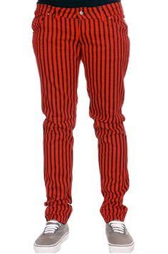 Jist Men's Stripy Stretch Jeans (Red-Black)