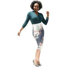 Women's Floral Print Bodycon Midi Skirt