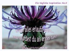Was würdest du sofort tun:  - wenn es nicht zu peinlich wäre  - wenn es nicht zu egoistisch wäre  - wenn es nicht zu verrückt wäre  - wenn es nicht zu teuer wäre  - wenn es nicht zu spät wäre  - wenn es nicht zu unanständig wäre  ……..    Öffne dein Herz weit und erlaube dir, heute einen deiner Wünsche zu erfüllen.  Ganz egal, wie verrückt es dir vorkommt. Trau dich!    www.inspirationenblog.wordpress.com  www.ulrikebischof.de