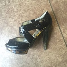 Naughty Monkey black open-toed platform heels sz 9 Black patent leather-like platform heels with leopard detail. Size 9. Worn one time; in excellent condition. naughty monkey Shoes Heels