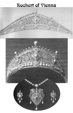 """""""Byzantine"""" tiara by Kochert - the so-caleld """"lost tiara"""" that Princess Alice wore to King Edward VII's wedding. This tiara won for Köchert the first prize for jewellery at the World Exhibition.  See earlier pin for tiara alone"""